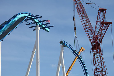 December 2012: the 170-foot lift hill of Cedar Point's GateKeeper comes together as workers use a 200-foot tall crane.