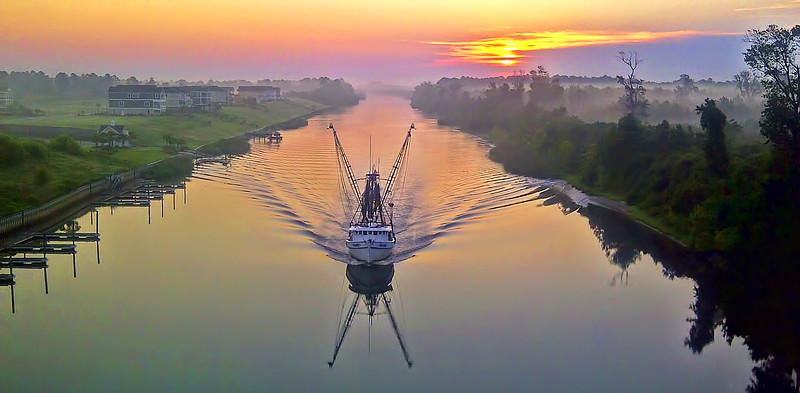 Cell Phone Photography Serene Fishing Boat Sunrise