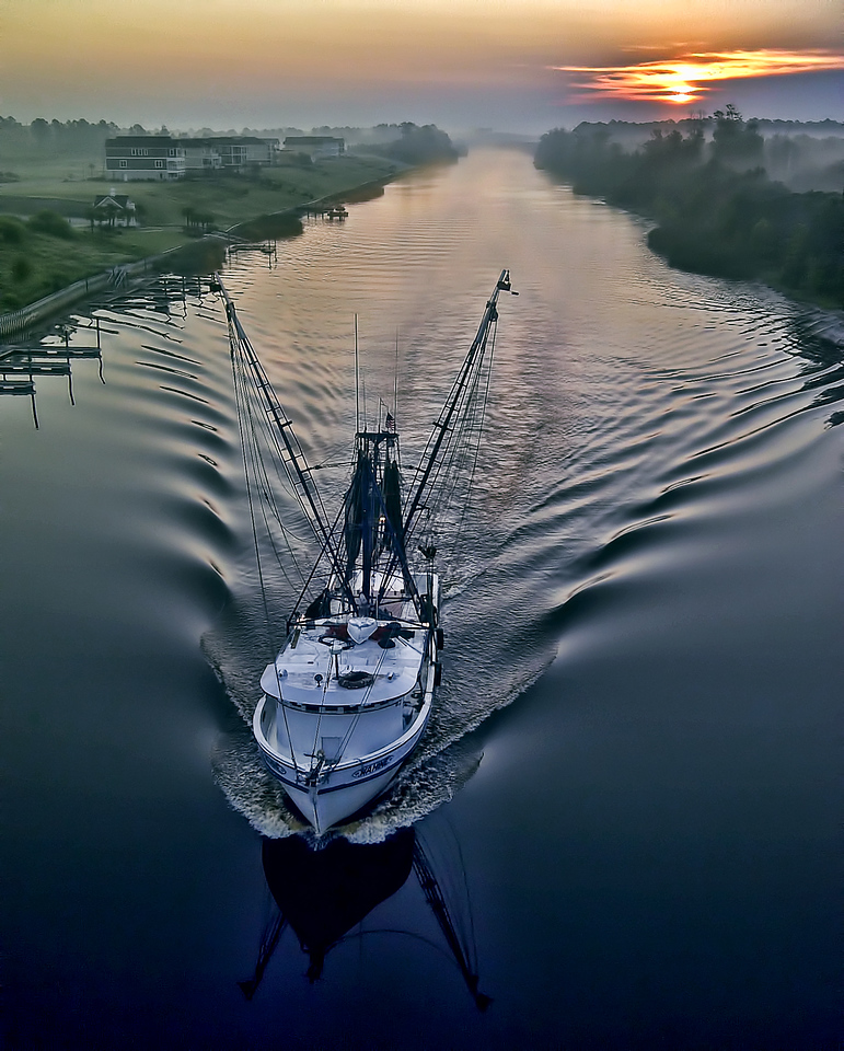 Cell Phone Photography Fishing Boat Intercoastal Waterway at Sunrise