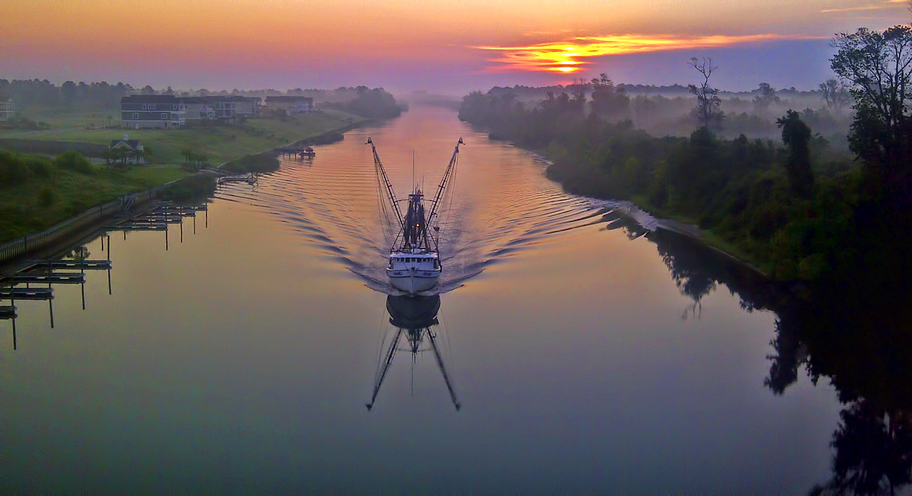 Cell Phone Photography First Light Fishing Boat Sunrise Intercoastal Waterway