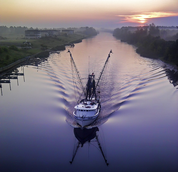 Cell Phone Photography Fishing Boat at Sunrise