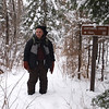 Rich poses next the the trail sign.   Joint USFS/ BWA Committee team carried in and installed the sign in October.