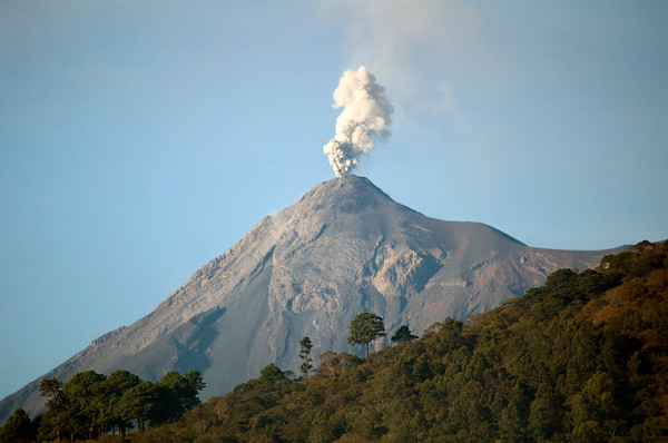Volcano erupting at the city's edge