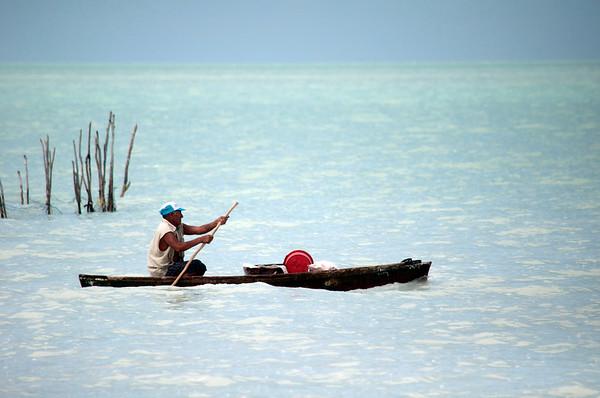 Local fisherman checking his traps