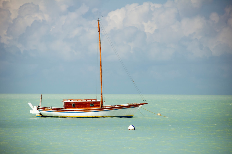 Sail boat floating in the Caribbean Sea