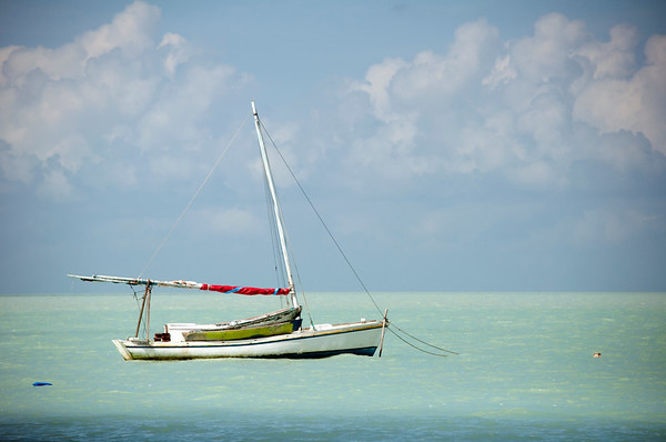 Wooden sail boat moored in the Caribbean
