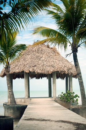 Palapa roof shelter on the Caribbean