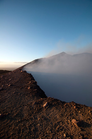 Steaming crater early in the morning