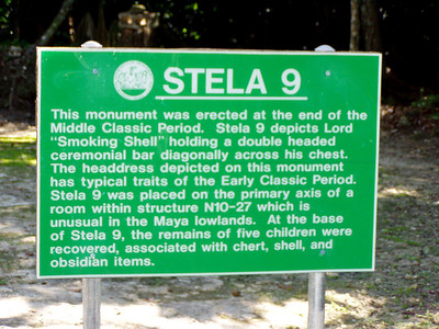 Description of the stone stela #9 - Lamanai, Belize.