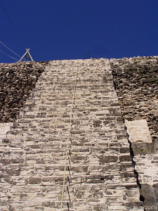 Looking up the temple steps - Lamanai, Belize
