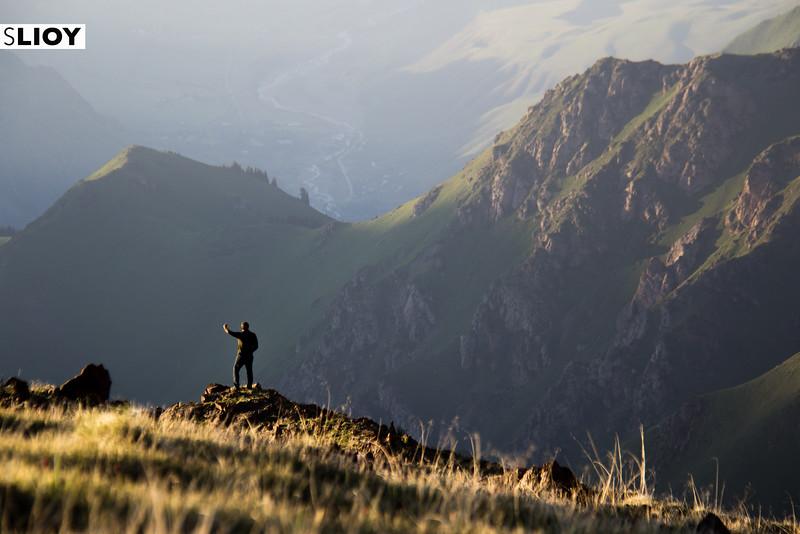 On a ridge overlooking Kegeti village in Kyrgyzstan.