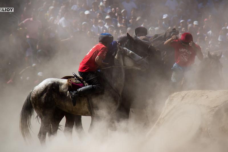 Dust screen during a game of Kok Boru in Bishkek.
