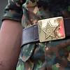 Soviet Union emblem on a Kyrgyz soldier's belt.