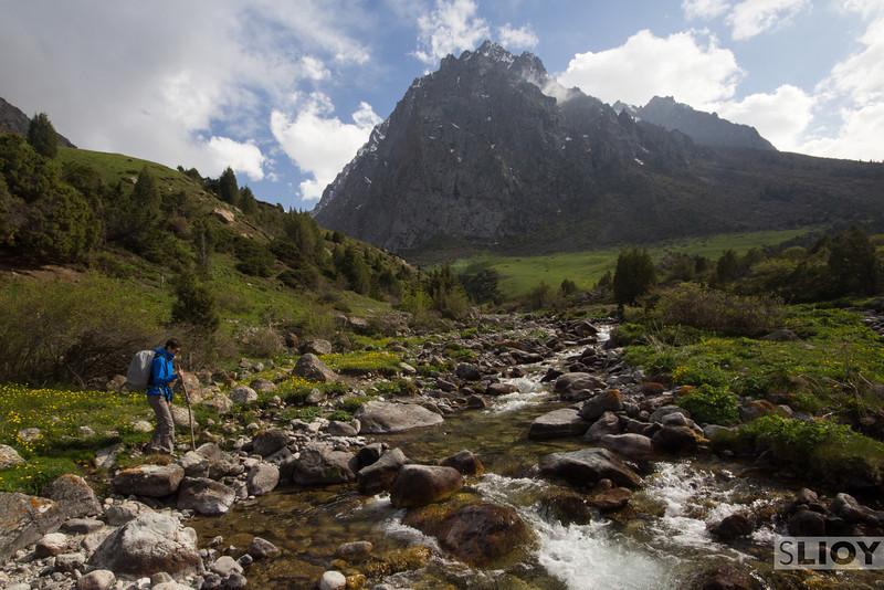 Crossing a stream near Issyk Ata.