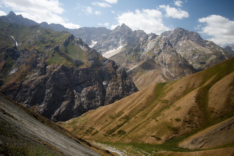 Mountain view off the highway between Penjikent and Dushanbe in Tajikistan.