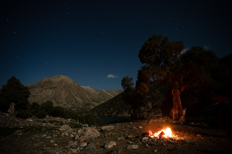 Campfire at a campsite in the Kulikalon Valley of the Fann Mountains of Tajikistan.