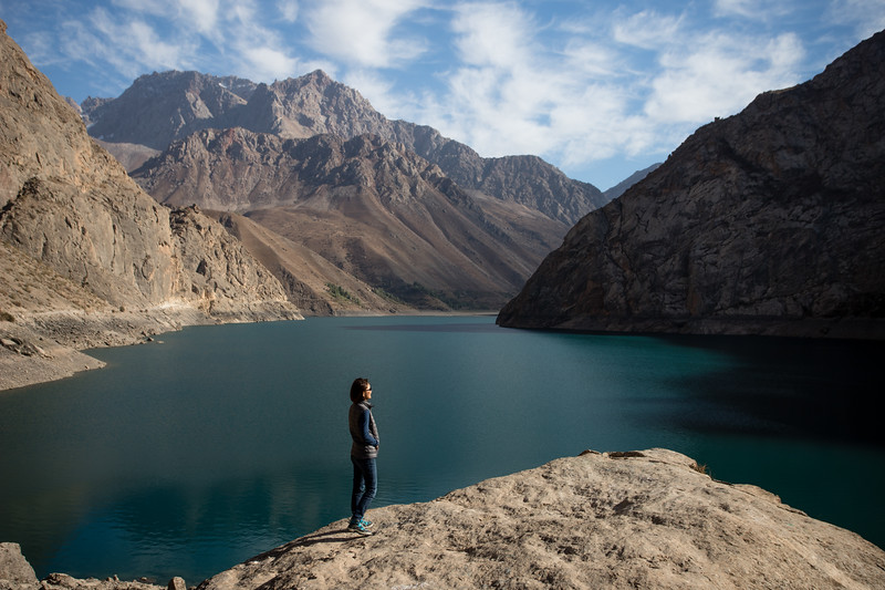 A tourist overlooks the sixth lake in the Haft Kul area of Tajikistan's Fann Mountains region.