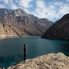 A tourist overlooks the sixth lake in the Haft Kul area of Tajikistan's Fann Mountains region.