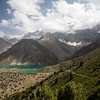 A well-defined trail leads down from the Chukurak Pass to the Kulikalon Lakes in the Fann Mountains of Tajikistan.