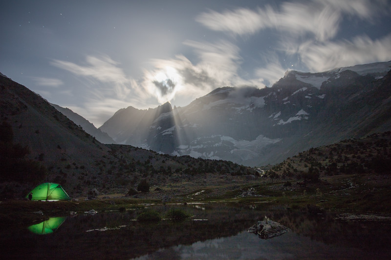 Moonlight illuminates the Kulaikalon Valley in the Fann Mountains of Tajikistan.