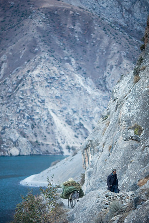 A local shepherd returns home with a load of wood from the far shore of Haft Kul in Tajikistan's Fann Mountains region.
