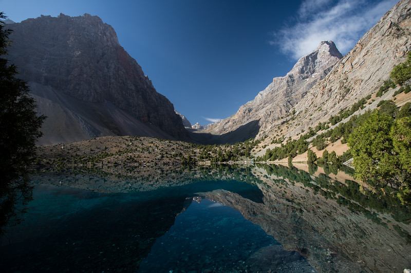 Sunrise over Alauddin Lake in the Fann Mountains of Tajikistan.