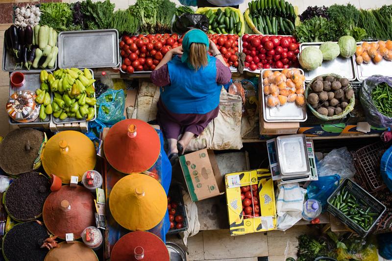 Vendors in the modern Makhrgon Market in Dushanbe, Tajikistan.