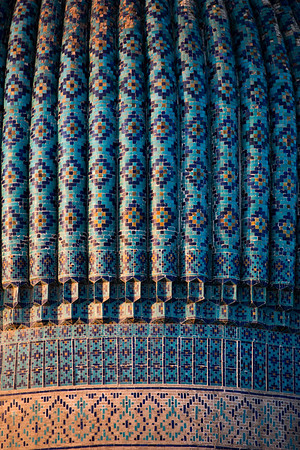Dome details of the Gur-i-Amir Mausoleum of Amir Timur in Samarkand, Uzbekistan.