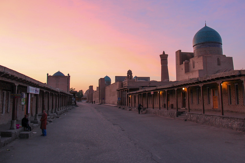 Sunset near the Kalon Minaret in Bukhara
