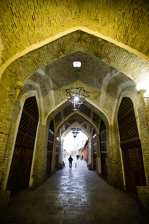Bukhara's Toqi Telpak Bazaar in the early morning hours.