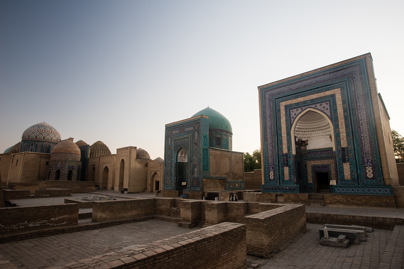 Backlighting at sunset behind the Shah-i-Zinda Mausoleum complex in Samarkand, Uzbekistan.