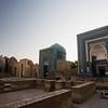 Backlighting at sunset behind the Shah-i-Zinda Mausoleum complex in Samarkand, Uzbekistan.