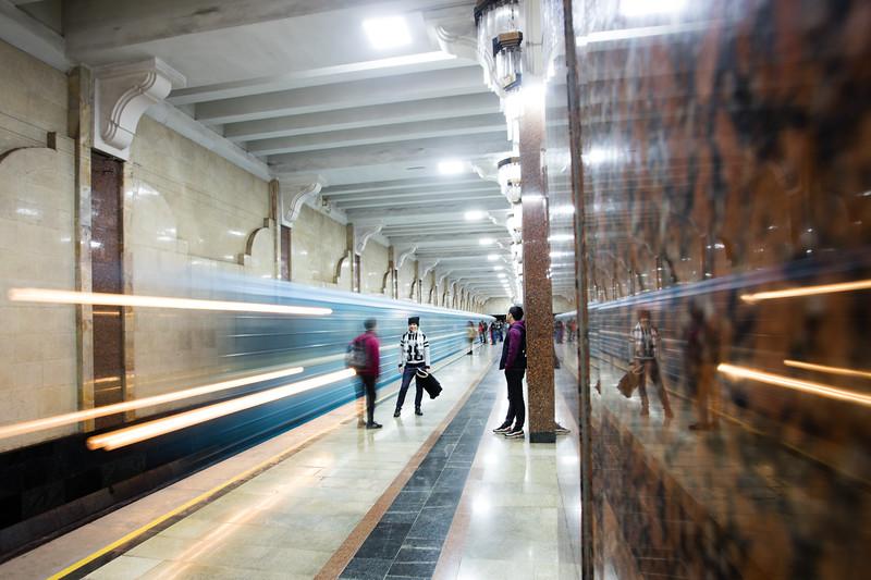 Passengers wait for an arriving train at the Soviet-era Minor metro station in Tashkent, Uzbekistan.