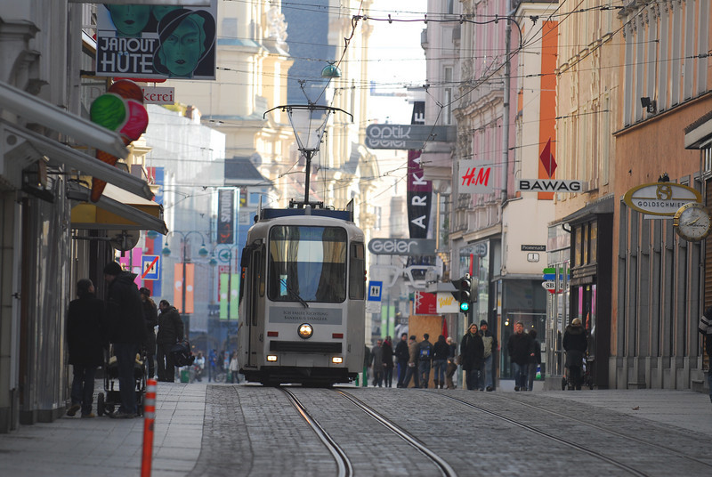 Trams in Linz, Austria.