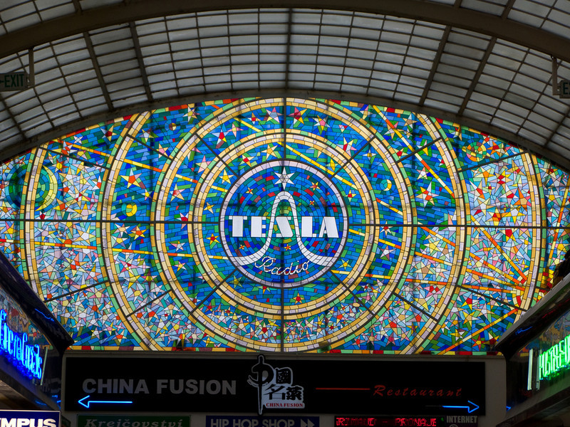 Tesla Radio stained glass window in Passage Světozor in Prague