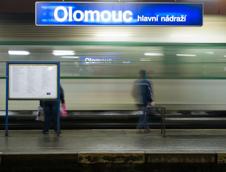 The station signs at Olomouc hlavní nádraží