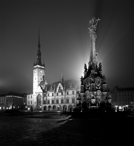 The Holy Trinity Column and Town Hall in Olomouc's Town Sqaure.