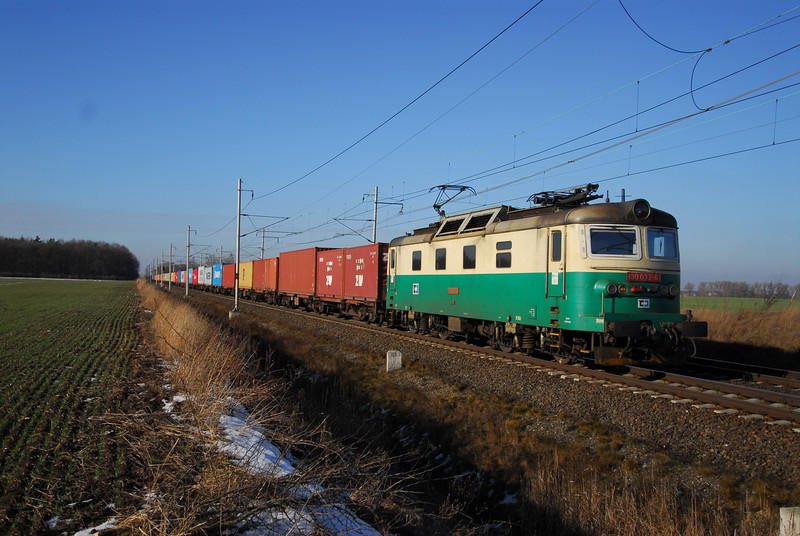 A CD Cargo Intermodal train east of Prague.
