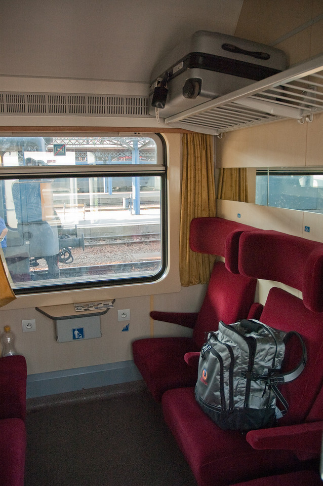 an old styled coupé train, with room for 6, but with very narrow passages outside, making it hard to lug your suitcase around....