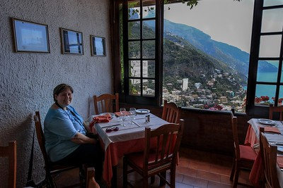 Jan at our lunch table in Positano. This place was recommended by our guide. We ate early and beat the crowd.