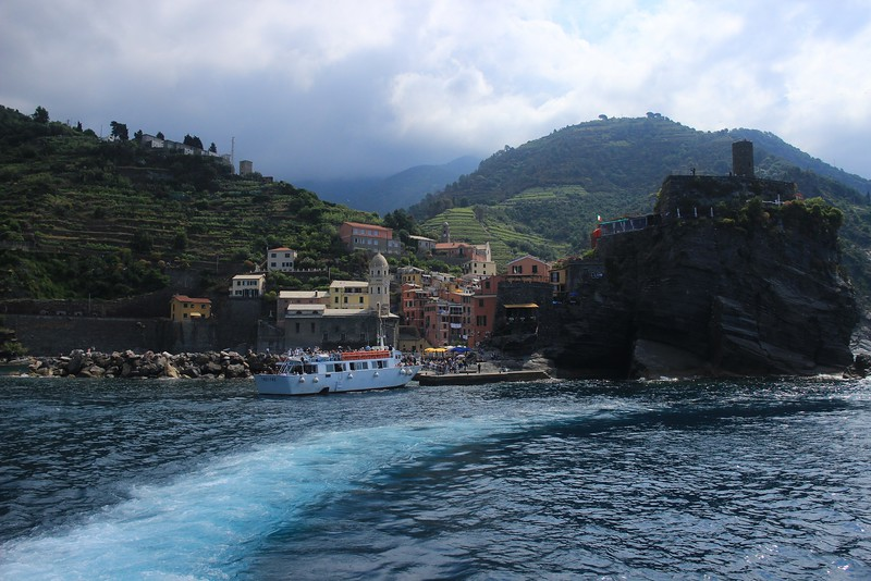 Vernazza, Italy. Large taxi boats link the 5 cities with regular daily service.