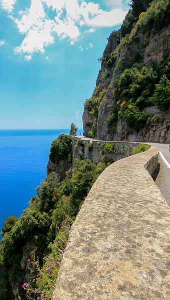 Main road to Positano on the Amalfi Coast.