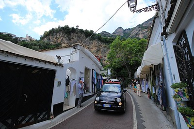 Main street entering old Positano. Thankfully this is a one way road.