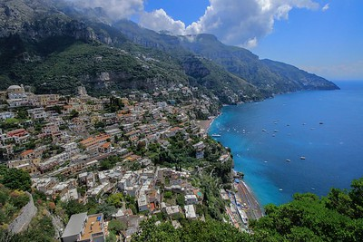 The view from De Constantino's restaurant, our lunch stop in Positano.