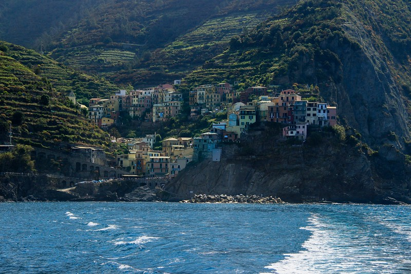 Manarola, Cinque Terre. Shooting into the morning sun did a number on the exposures and color.