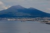 Mt. Vesuvius overlooks a Naples suburb. It is the only active volcano in Europe, with a devastating history, and still vents steam.