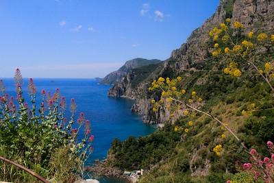 Looking north at the rugged, photogenic landscape of the Amalfi Coast near Positano.