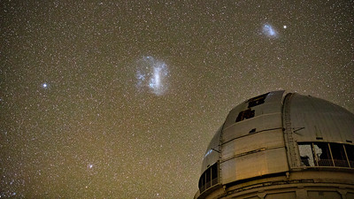 Large & Small Magellanic Clouds & 47Tuc Over Blanco Telescope Dome