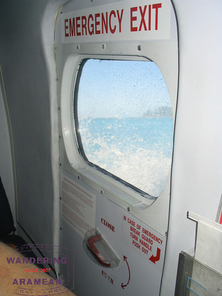 So, normally it is bad to see water right outside the plane window like this.