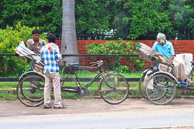 A trishaw in India. You see a lot of these among several other forms of transportation here!